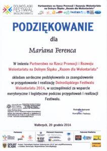 Dolnośląski Festiwal Wolontariatu - Marian Ferenc - 20.12.2014