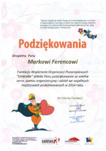 Podziękowania Fundacja Umbrella - 2014