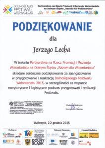 Dolnośląski Festiwal Wolontariatu - Jerzy Lech - 22.12.2015