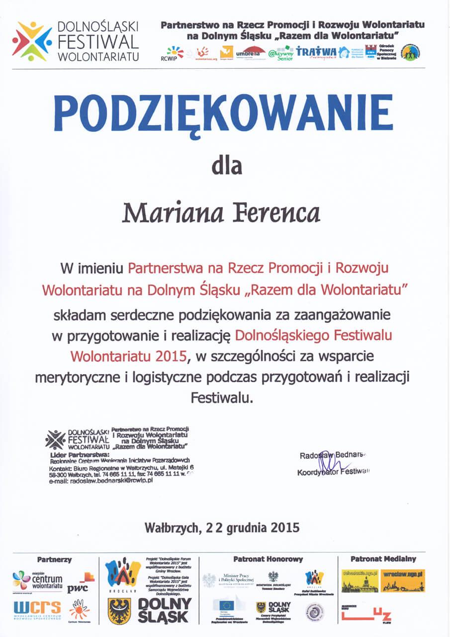 Dolnośląski Festiwal Wolontariatu - Marian Ferenc - 22.12.2015
