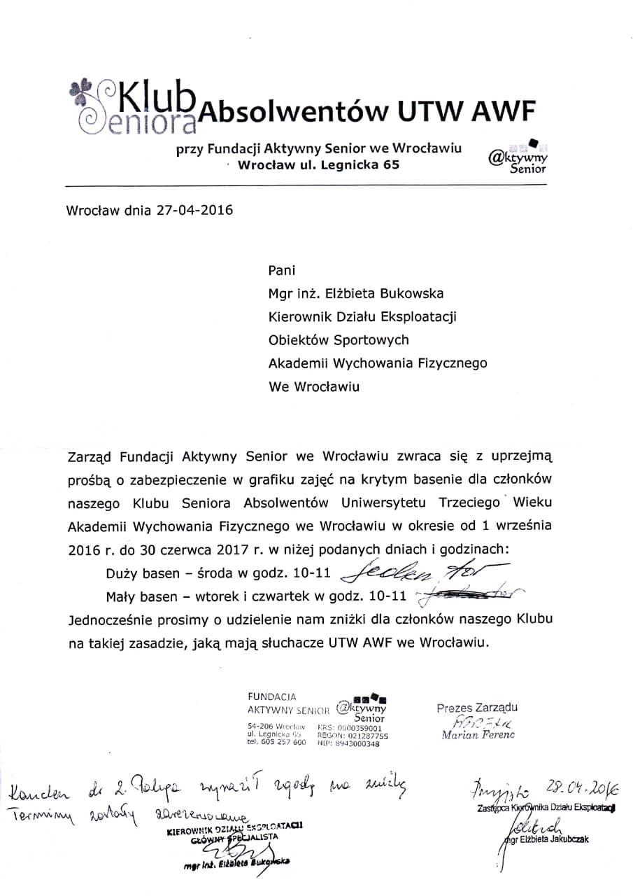 Klub Seniora - 27.04.2016