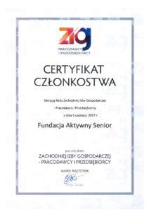 Certyfikat Członkostwa - ZIG